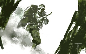 Picture weapons, background, war, soldiers