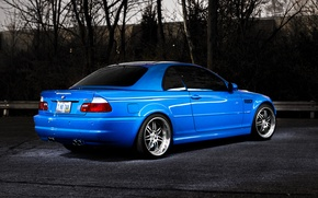 Picture trees, blue, BMW, BMW, blue, E46