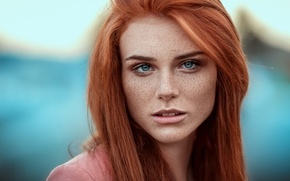 Picture portrait, freckles, Kissed by Fire