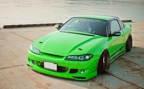 Picture auto, pierce, green, Nissan, tuning, Sylvia, Nissan Silvia S15