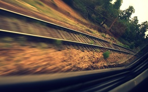 Picture road, forest, rails, train, speed, window, sleepers