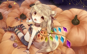 Picture wings, art, candy, tail, pumpkin, sweets, cake, ears, halloween, touhou, piece, flandre scarlet, tepes, cristelli