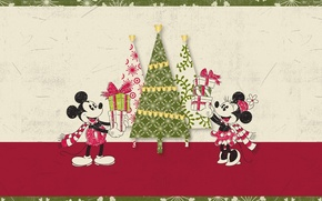 Picture tree, Christmas, gifts, Mickey Mouse, Mickey Mouse, Minnie