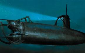 Picture war, art, painting, ww2, submarine, navy, japanese submarine, imperial japanese navy