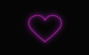 Picture love, heart, neon, love, black background, neon