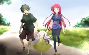 Picture girl, girl, guy, walk, anime, art, Threesome, yusa emi, hataraku maou-sama!, arras ramus, maou sadao
