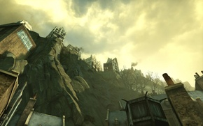 Picture the sky, clouds, the city, rocks, Dishonored