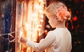 Picture winter, lights, child, lights, window, frost, girl, garland, holidays