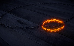 Wallpaper The One Ring, One Ring, The hobbit, The inscription, The Lord of the Rings, chain