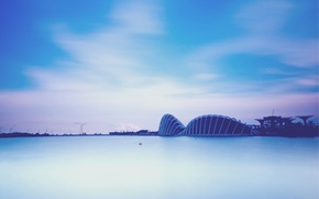 Picture the evening, Bay, Singapore, megapolis, evening, Malaysia, Singapore, Malaysia, Gardens By the Bay