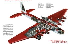 "Picture the plane, Tupolev, passenger, Soviet, ""Maxim Gorky"", The ANT-20, bench, 8-motor"