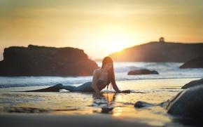 Picture rock, beach, sunset, seaside, reflection, foam, mermaid