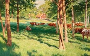 Picture forest, summer, trees, landscape, house, picture, fence, cows, village, pasture, meadow, Johan Krouthen