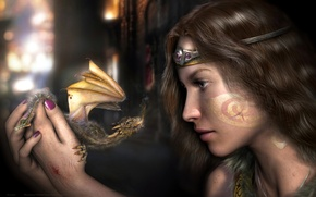 Picture girl, dragon, Skyrim, The Elder Scrolls V Skyrim, war paint