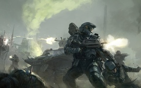 Picture weapons, smoke, technique, soldiers, Halo, armor, shots, retreat
