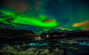 Picture winter, night, Northern lights, Norway, The Lofoten Islands