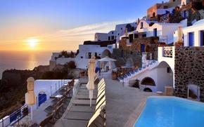 Picture sea, the sun, sunset, the city, Santorini, Greece