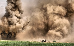 Picture the explosion, dust, soldiers, action, military