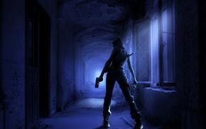 Picture girl, night, gun, weapons, sword, corridor, killer, gloomy