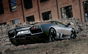 Wallpaper black, Lamborghini, Reventon, the ruins