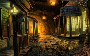 Picture street, building, lights, puddles, cave, Mystery Case Files, Return to Ravenhearst