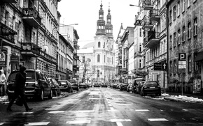 Picture road, machine, the city, people, street, home, Poland, the sidewalk, pedestrian, stores, Poland, Poznan, Poznan