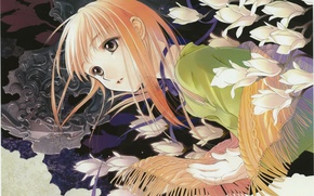 Picture scarf, girl, tape, art, white flowers, knitted, You Shiina, Tsu want to he rid of …