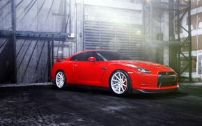 Picture GTR, red, Nissan, wheels, vossen, frontside