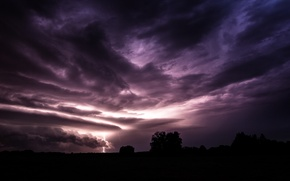 Picture the storm, the sky, clouds, lightning, Field, the evening, purple