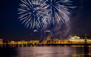 Picture water, night, bridge, the city, lights, Peter, arrow, Saint Petersburg, fireworks, Neva, stock, Petrogradka