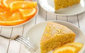 Picture orange, food, pie, plates, sweet