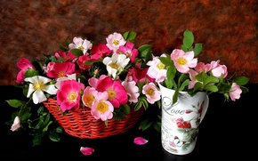 Picture flowers, background, basket, glass, roses, petals, pink, tea