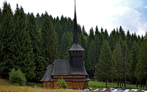 Picture forest, trees, machine, glade, temple, Romania, Poiana Brasov, Monastery