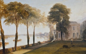 Picture trees, landscape, house, river, picture, William Turner, Early Summer Morning, Mortlake Terrace