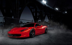 Picture night, red, bridge, black, red, wheels, ferrari, Ferrari, drives, black, front view, bridge, night, Italy, …