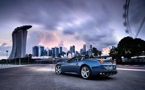 Picture The evening, The city, Ferrari, Lights, California, Turbo, Back