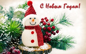 Picture berries, holiday, hat, scarf, snowman, bump, pine