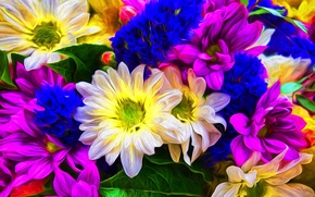 Picture flowers, background, paint, color