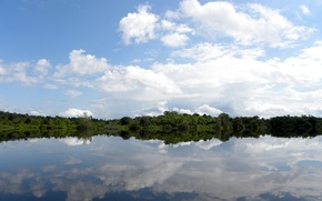 Picture Clouds, Sky, River, Trees, Amazon