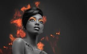 Picture fire, portrait, makeup, Alternative Edit, Pheonix