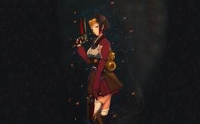 Picture girl, weapons, anime, art, Koutetsujou no Kabaneri, Mumei