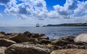 Picture sea, the sky, clouds, stones, shore, ship, sailboat