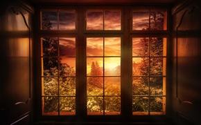 Picture sunset, nature, treatment, window, Good night