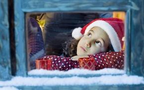 Picture snow, reverie, comfort, heat, window, girl, brown-eyed