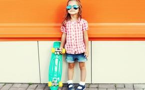 Picture summer, glasses, girl, Skateboard, skateboard, child, Little girls