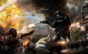 Wallpaper the explosion, weapons, soldiers, helicopter, tank, zombies. battle