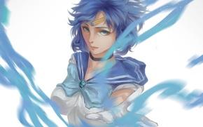 Picture girl, anime, art, form, schoolgirl, Bishoujo Senshi Sailor Moon, mizuno ami, sailor mercury