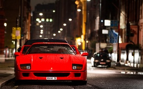 Picture drops, night, the city, street, wet, Ferrari, F 40
