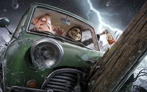 Picture machine, crash, joy, squirt, death, fear, rain, lightning, skull, bottle, man, art, alcohol, log
