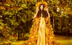 Picture autumn, leaves, girl, creative, hair, dress, woman, beautiful, autumn, leaves, gold